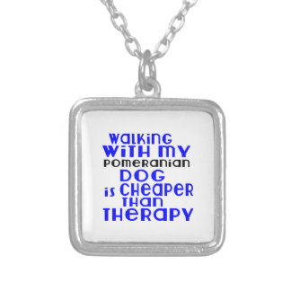Walking With My Pomeranian Dog Designs Silver Plated Necklace