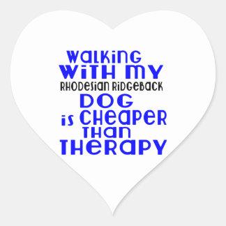 Walking With My Rhodesian Ridgeback Dog Designs Heart Sticker