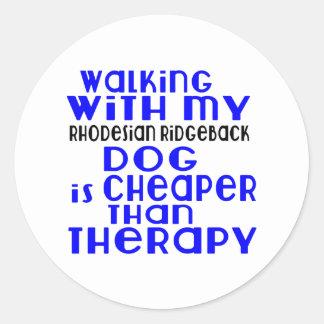 Walking With My Rhodesian Ridgeback Dog Designs Round Sticker