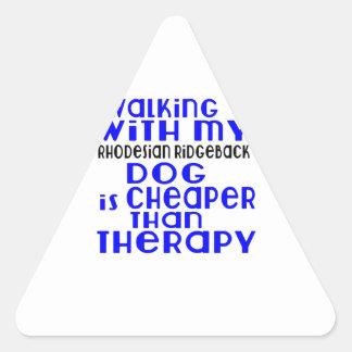 Walking With My Rhodesian Ridgeback Dog Designs Triangle Sticker
