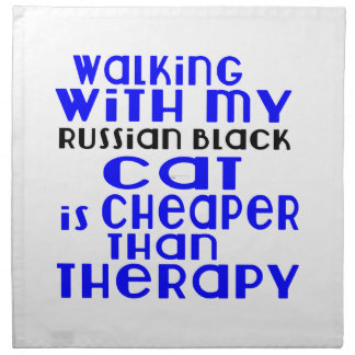 Walking With My Russian Black Cat Designs Napkin