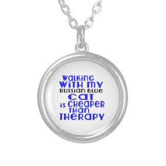 Walking With My Russian Blue Cat Designs Silver Plated Necklace