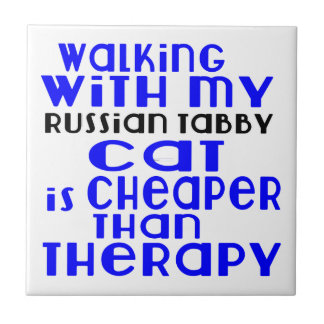 Walking With My Russian Tabby Cat Designs Small Square Tile