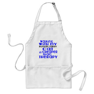 Walking With My Russian Tabby Cat Designs Standard Apron