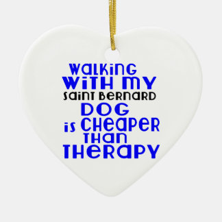 Walking With My Saint Bernard Dog Designs Ceramic Heart Decoration
