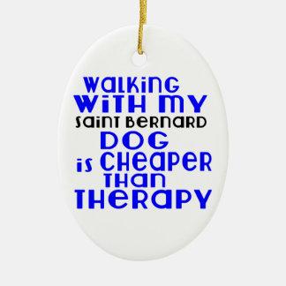 Walking With My Saint Bernard Dog Designs Ceramic Oval Decoration