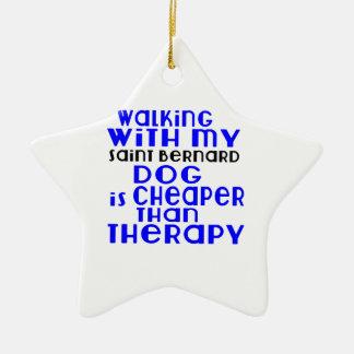 Walking With My Saint Bernard Dog Designs Ceramic Star Decoration