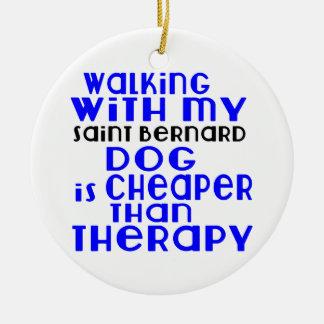 Walking With My Saint Bernard Dog Designs Round Ceramic Decoration