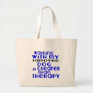 Walking With My Samoyed Dog Designs Large Tote Bag