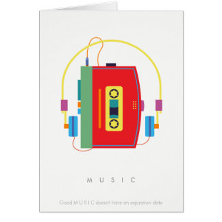 Walkman cassette player, retro music birthday card