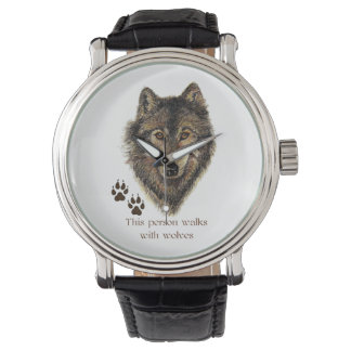 Walks with Wolves Quote Wild Wolf Head Logo tracks Watch