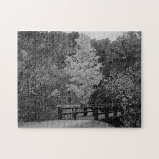 Walkway Bridge to Alley Mill Grayscale Jigsaw Puzzle