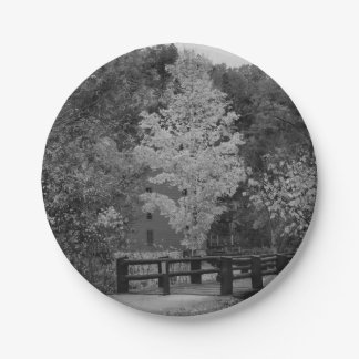Walkway Bridge to Alley Mill Grayscale Paper Plate