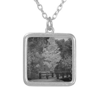 Walkway Bridge to Alley Mill Grayscale Silver Plated Necklace
