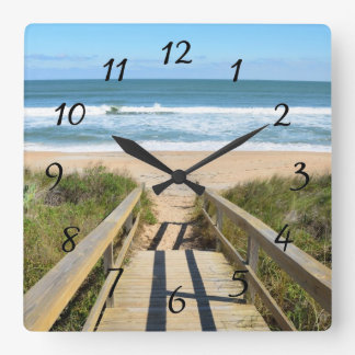Walkway to the beach square wall clock