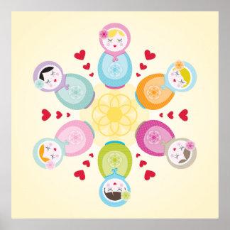 WALL ART babushka dolls - mandala Poster