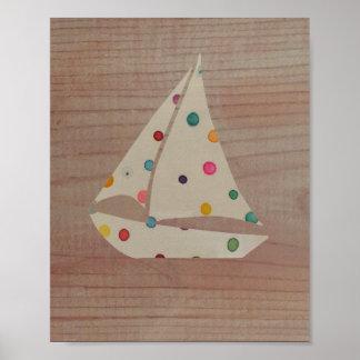 Wall Art Print Colorful Polka Dot Boat Wood Design