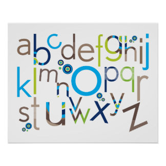 WALL ART :: TYPOGRAPHY - trendy alphabet 3 Poster
