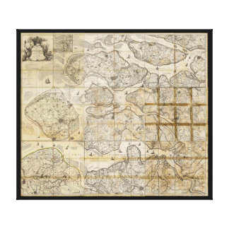 Wall Chart Map of Zealand Denmark 1655 to 1785 Stretched Canvas Print