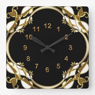 Wall Clock Black Gold White Floral Swirl