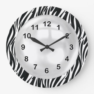 Wall Clock Black White Zebra Stripe