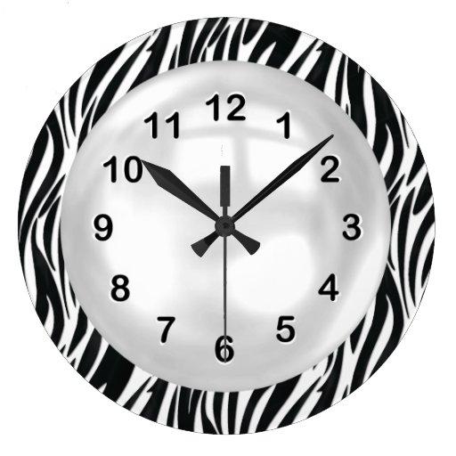 Wall Clock Black White Zebra Stripe Wall Clock
