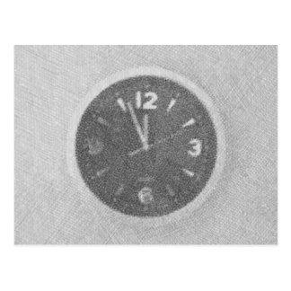 Wall Clock Canvas Sketch on Horizontal Postcard
