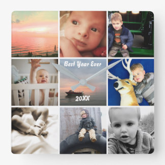 Wall Clock Family or Couple's Photo Collage