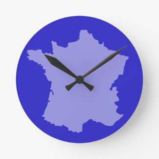 Wall Clock - France Map design Blue