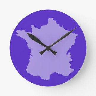Wall Clock - France Map design Purple