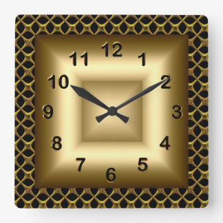 Wall Clock Metal Look Black Bronze Gold