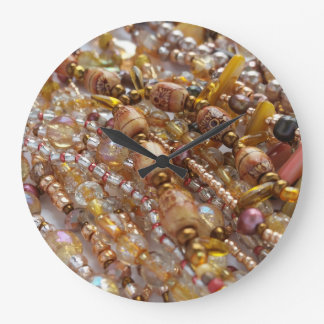 Wall Clock- Natural Earthtones, Bronze Beads Print Large Clock