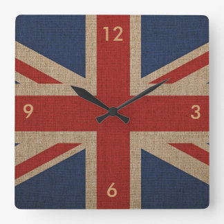 Wall clock print with canvas flag of Britain