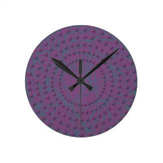 Wall clock purple design in raised dot pattern