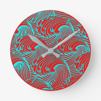 Wall clock red blue wave design & numbers