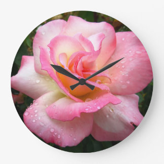 Wall clock - rose with pink petals