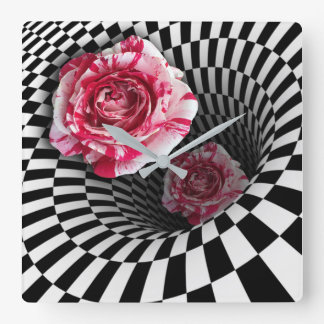 Wall clock two peppermint roses in tunnel design