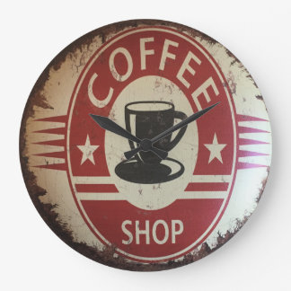 Wall clock with coffee shop sign with red, black