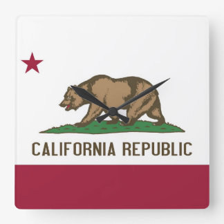 Wall Clock with Flag of California, USA