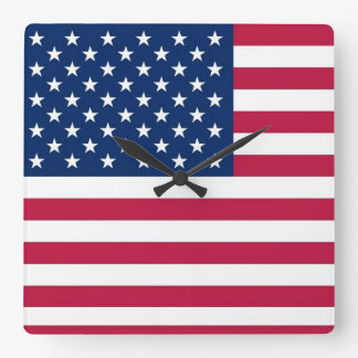 Wall Clock with Flag of USA