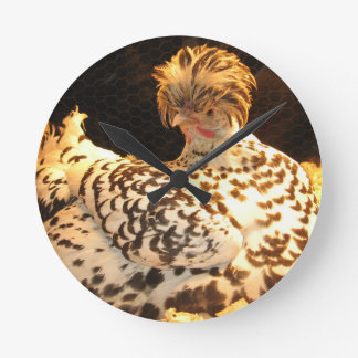 Wall clock with German Spitzhauben hen