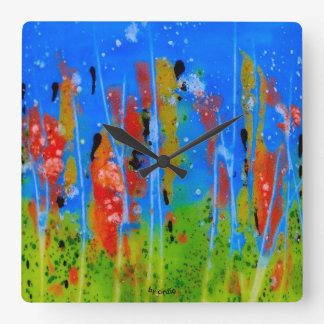 Wall clock with splashed-colors