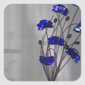 Wall flowers Blue on texture background Square Sticker
