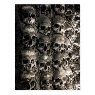 Wall Full Of Skulls And Bones In The Bone Chapel Postcard