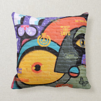 wall graffiti eyes Peace and Love message pillow Cushion
