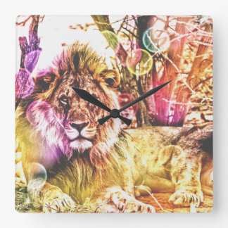 Wall Lion square clock