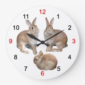 Wall-mounted clock of 3 rabbits