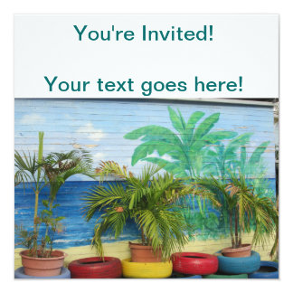 """Wall of Colors """"St. Maarten"""" 13 Cm X 13 Cm Square Invitation Card"""
