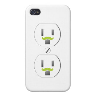 Wall Outlet w/Green Mustache Design iPhone 4/4s iPhone 4 Cases