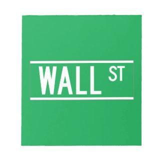 Wall St., New York Street Sign Scratch Pad